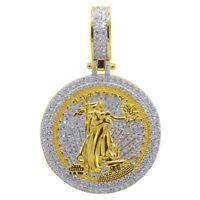 10K Yellow Gold Silver Round Lady Liberty Medallion Pendant Simu Diamond Charm