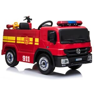Fire Rescue Truck, 12V Electric Ride On Toy for Kids - Red