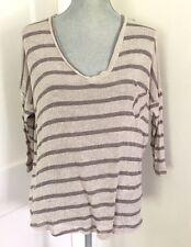 Blu Pepper - Stitch Fix open knit pullover sweater M slouchy 3/4 sleeve striped