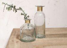 1 Tall Hammered Glass Bottle Stem Vase Gold Brass Neck Vintage Chara Lines Nkuku