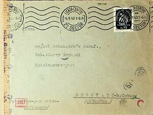 PORTUGAL 1943 1s75 SHIP ON CENSORED COVER W/ CACHETS FROM LISBOA TO GERMANY