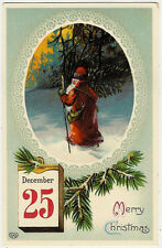 Santa Claus, Christmas, Santa in the Forest with a Pine Tree, Nice Old Postcard