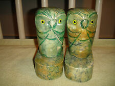 Vintage Marble Owl Bookends-Pair-Green Marble-9.6LBS-Mid Century Modern Bookends