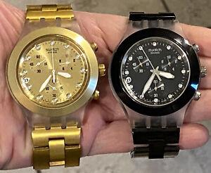2 Watch Lot SWATCH Irony Diaphane AG 2005 Quartz Chronograph 1 Gold,1 Black
