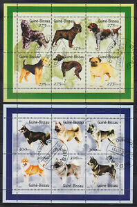 Guinea Bissau 12 used stamps - Dogs 2001 CTO