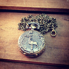 Small Deer Vintage Style Pocket Watch Necklace Woodland Pocketwatch Hunting Buck