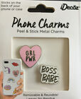 IDecoz Pink GRL PWR & Boss Babe Peel & Stick No Residue Enamel Phone Charms