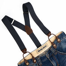 Unisex Suspenders Adjustable Elastic Braces Faux Leather Button Holes Gray BD708