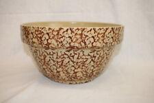 Vintage Ransbottom Roseville Ohio Pottery Yellow Spongeware Mixing Bowl #305