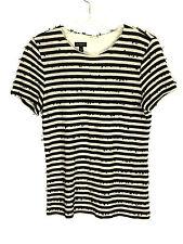Talbots Shirt Sequin Textured Zip Back Striped Black Cream Womens Petites Small