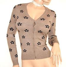 MAGLIETTA BEIGE NERA cardigan donna maglia sottogiacca manica lunga golfino F75
