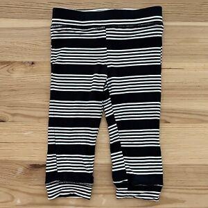 KICKEE PANTS Black & White Stripe Lounge Pants Size 6-12 Months