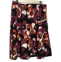 ECI A Line Skirt Floral Print Medium Pull on Textured Magenta Black Orange NWT