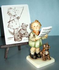 Hummel Goebel Harmony & Lyric Girl & Dog Figurine Hum911 Plus Postcard & Easel