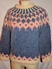 Alva Knit Icelandic Wool Sweater Ivory Blue Pink Women STUNNING size S Iceland