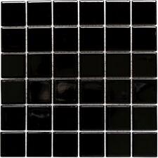 Mosaïque baguette céramique brillant noir cuisine bain mur 24B-0301_b   1 plaque