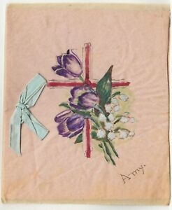 """GREETINGS CARD - Made & Hand Painted by """"Amy"""" - c1900s era 4 x 5 inches card"""