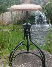 Solid Cast Iron Industrial Bar Stool Timber Seat Swivel Seat Adjustable Height