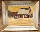 Vintage Oil Painting Old Quebec Farmhouse in Winter Canada Art Primitive Naive