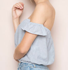 Brandy Melville~BECCAH~Off Shoulder Top~Blue & White Striped~Cropped~Summer