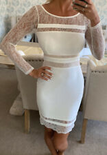 Lipsy By Michelle Keegan White Bodycon Lace dress size 8 new with tags