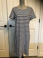 Talbots Navy Blue and White Stripped Short Sleeve Pull Over Dress Women's Size L