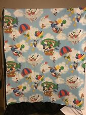 Walt Disney Mickey Mouse Air Mobile Twin Flat Sheet Vintage Fabric