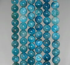 6-7MM OCEAN BLUE APATITE GEMSTONE GRADE A  ROUND LOOSE BEADS 15.5""