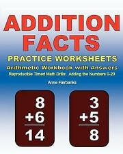 Addition Facts Practice Worksheets Arithmetic Workbook with Answers: Reproducibl