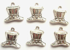 6 Top Hat Charms Mad Hatter Silver Tone Metal 22mm