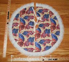 "Waving Usa Flags Americana Handmade Mini Tree Skirt, 21"" dia,July 4th,patriotic"