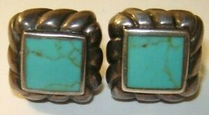 vintages PAIR OF STERLING SILVER SQUARE TURQUOISE EARRINGS