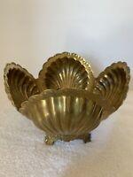 Vintage 1970's  Brass Sea Shell Planter Modern Hollywood Regency Patinated