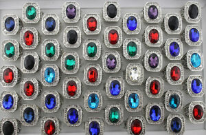 35pcs Men's Cool Big Colorful Glass Ring Filled Rhinestone Fashion Rings AH687