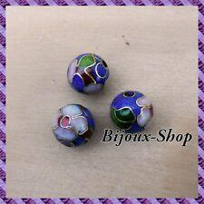 18 Perles métal, peinte a la main 12mm