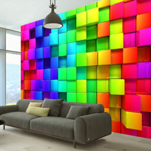 SENSORY ROOM OPTICAL COLOURED BLOCKS WALL PAPER ADHT AUTISM ASPERGES RELAXATION