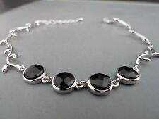 100% 925 Sterling silver Bracelet, Quality Black Sapphire stones.Aussie Seller17