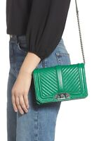 Rebecca Minkoff Chevron Quilted Small Love Crossbody Jungle Green Handbag Purse