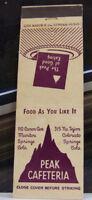 Rare Vintage Matchbook Cover V1 Manitou Springs Colorado Peak Cafeteria Good Eat