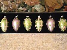 New Set of 6 Mini Glass Kugel Easter Egg Feather Tree Glitter Ornaments