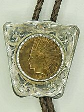 1908 $10 Gold Indian Head Eagle Coin Smith Enterprises Sterling Silver Bolo Tie