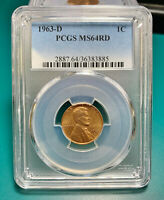 1963 D 1C RD Lincoln Cent PCGS MS64RD