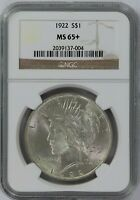 1922-P NGC Silver Peace Dollar Certified MS65+ PLUS with Lots of  Luster