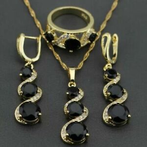 Gold Filled Black Sapphire & White Topaz Necklace Earrings & Ring Set Sz N or P