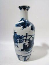 "Fine Yongzheng CHINESE Blue & White VASE Figures & Tree 8.25"""