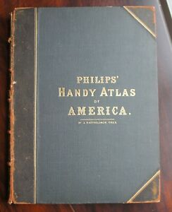 23 ANTIQUE BARTHOLOMEW MAPS FROM ATLAS OF NORTH & SOUTH AMERICA PUBLISHED 1879