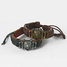Mens Boys Real Genuine Leather Wolf Charm Surfer Bracelet Wristband Black Brown