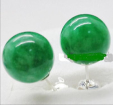 Pretty New Natural Green Jadeite Jade 925 Silver Stud Earrings