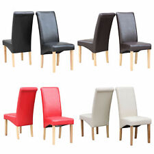 2 x Scroll Back Faux Leather & Oak Effect Dining Chairs