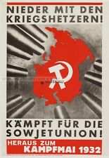 JOHN HEARTFIELD - DOWN WITH WARMONGERS RARE EAST GERMAN art POSTER GDR COMMUNIST